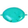 Glass Bead 16x11mm Flat Oval Turquoise Matrix Strung